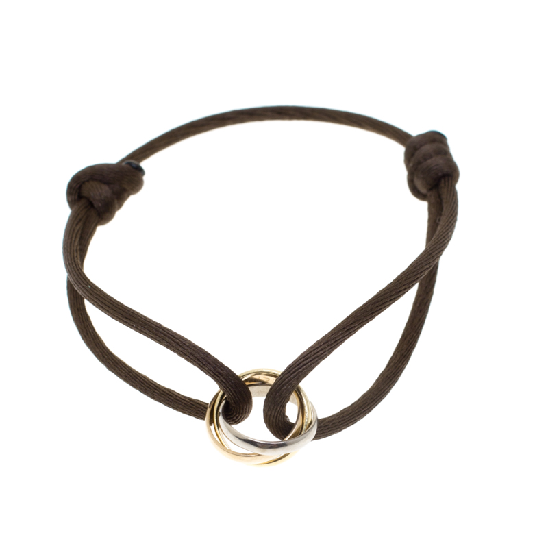 3061988d5fe0d5 ... Cartier Trinity De Cartier Three Tone 18k Gold Brown Adjustable Cord  Bracelet. nextprev. prevnext