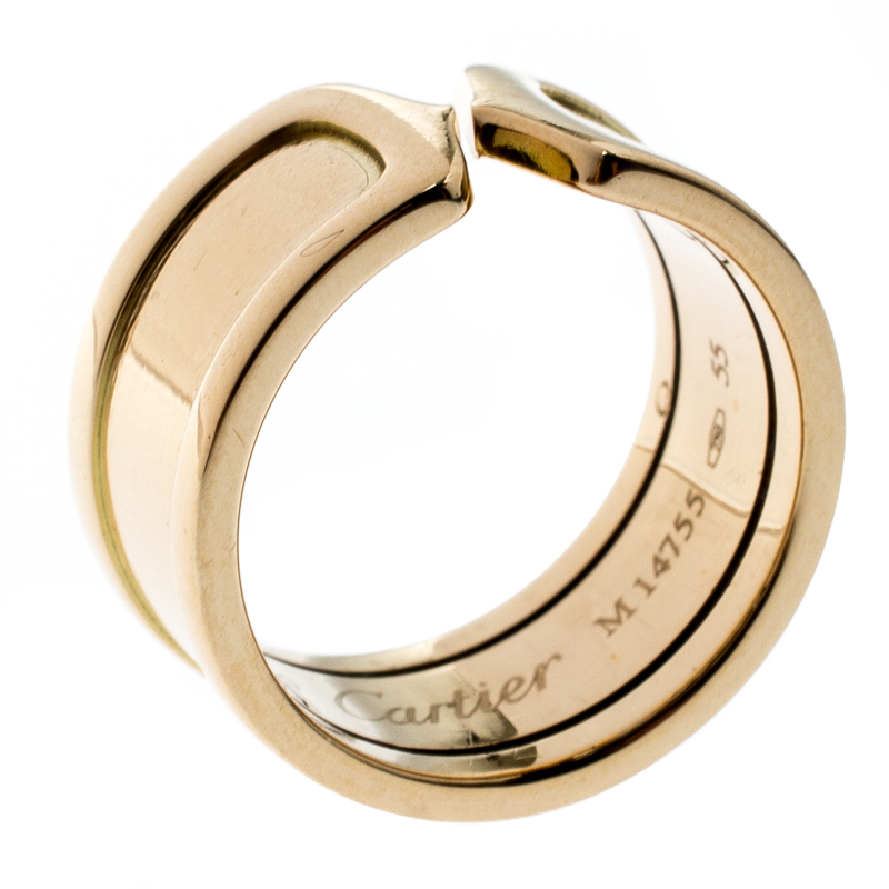 6c942a44809de ... Cartier C de Cartier 18k Yellow Gold Wide Band Ring Size 55. nextprev.  prevnext