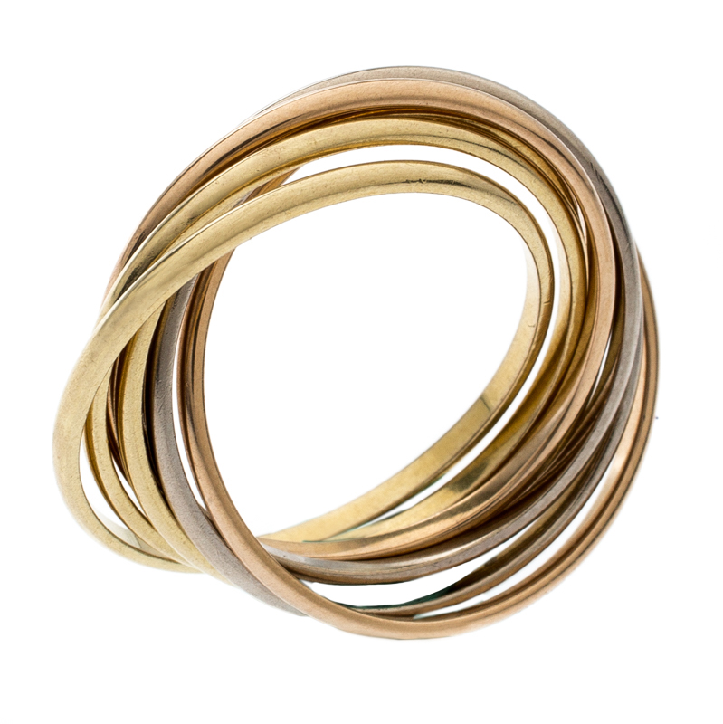 32dbd98f2c68a Cartier Trinity 18k Three Tone Gold 7 Band Rolling Ring Size 61