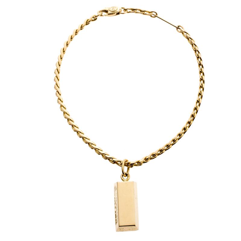 d755f65065213 Cartier 1/4 Oz Bar Ingot 18k Yellow Gold Charm Chain Bracelet