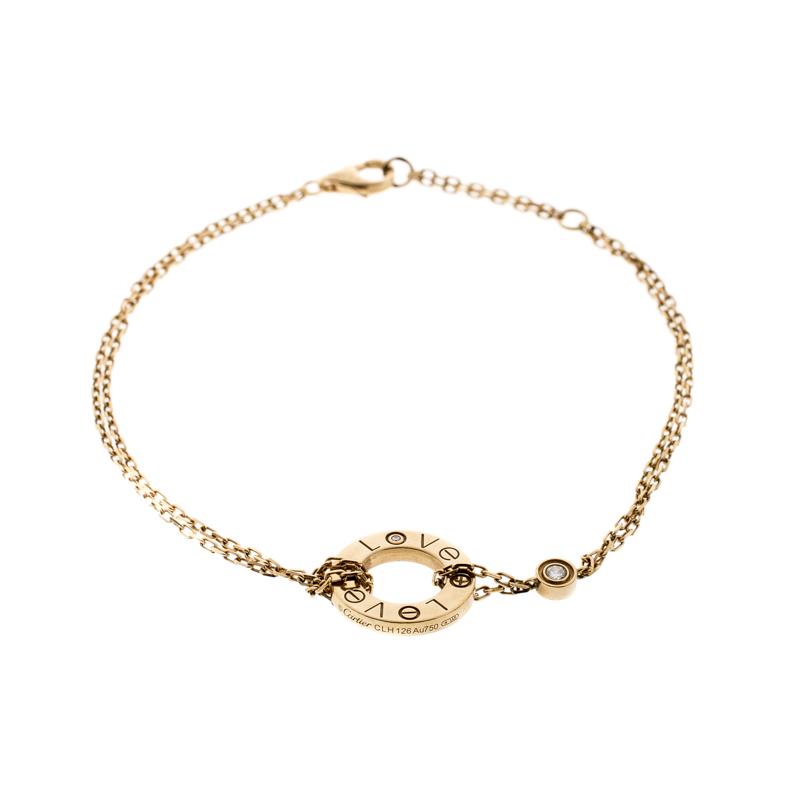 Купить со скидкой Cartier Love Diamond 18k Yellow Gold Chain Bracelet