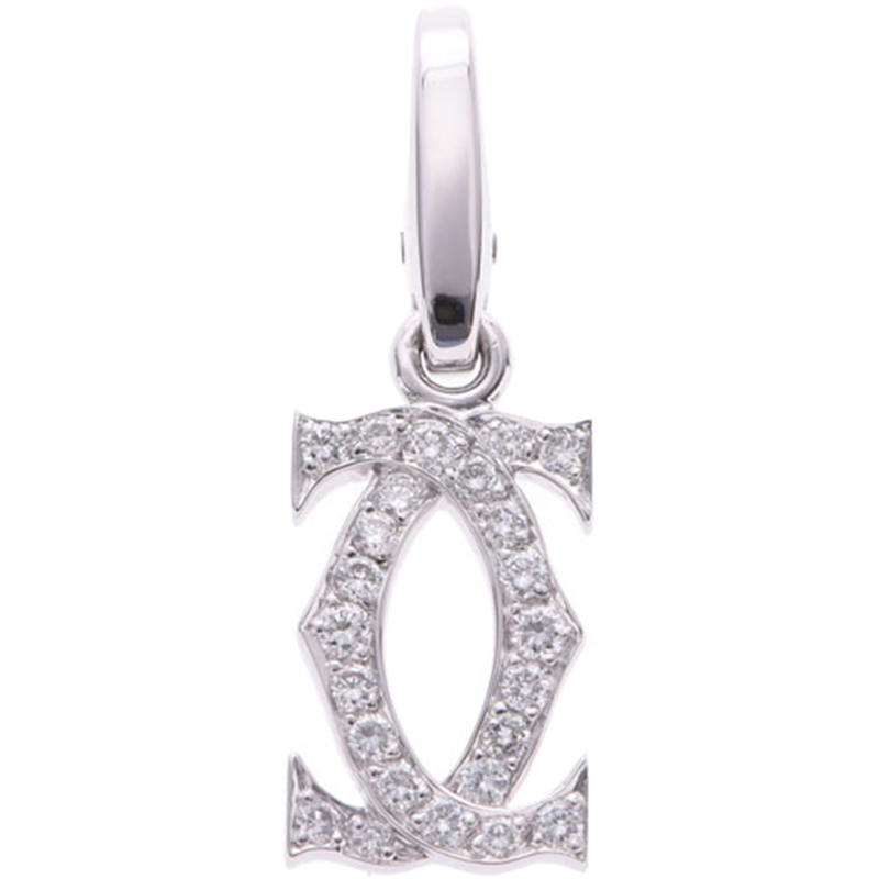 Cartier 2C Charm 18K White Gold And Diamond Pendant
