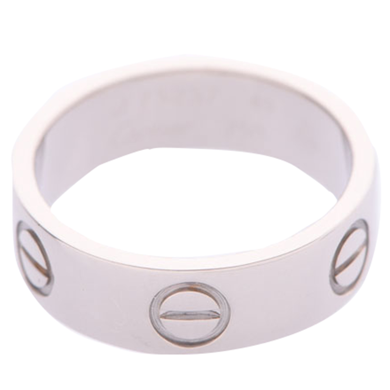 Cartier Love 18K White Gold Band Ring Size 49