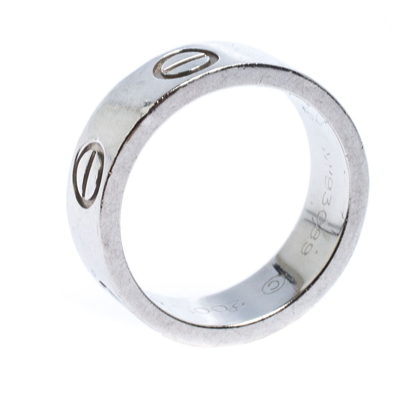 Cartier Love Platinum Band Ring Size 46