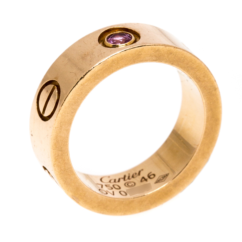 Cartier Love Pink Sapphire 18K Rose Gold Band Ring Size 46