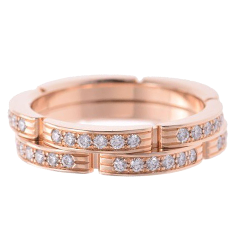 Cartier Maillon Panthere 18K Rose Gold And Diamonds Ring Size