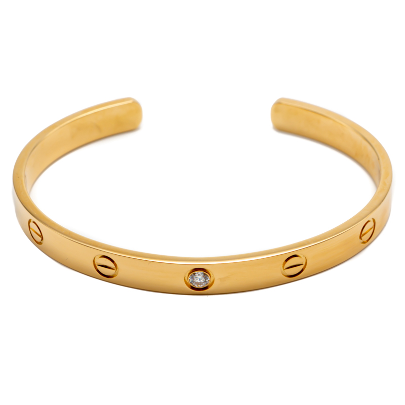 Cartier Love Yellow Gold 1 Diamond Open Cuff Bracelet Size 18