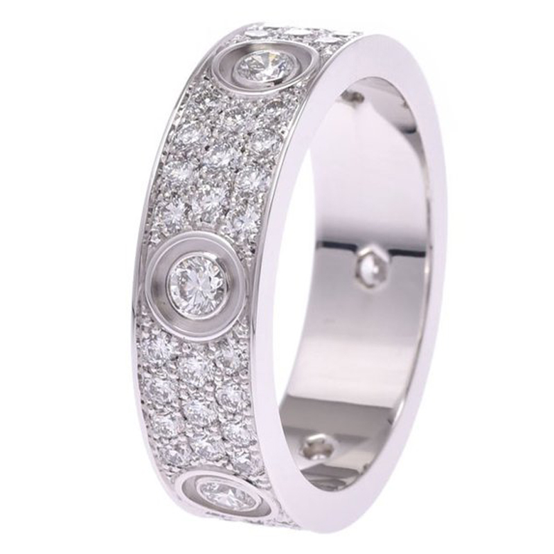 Cartier Love Diaonds Pave 18K White Gold Ring Size 62