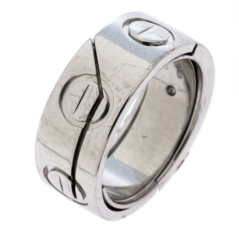 Cartier Astro Love 18k White Gold Ring Size 47