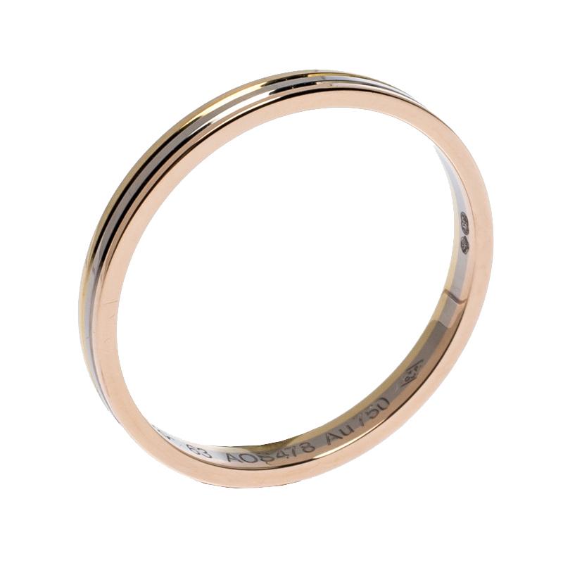 Cartier Trinity 18K Three Tone Gold Wedding Band Ring Size 63