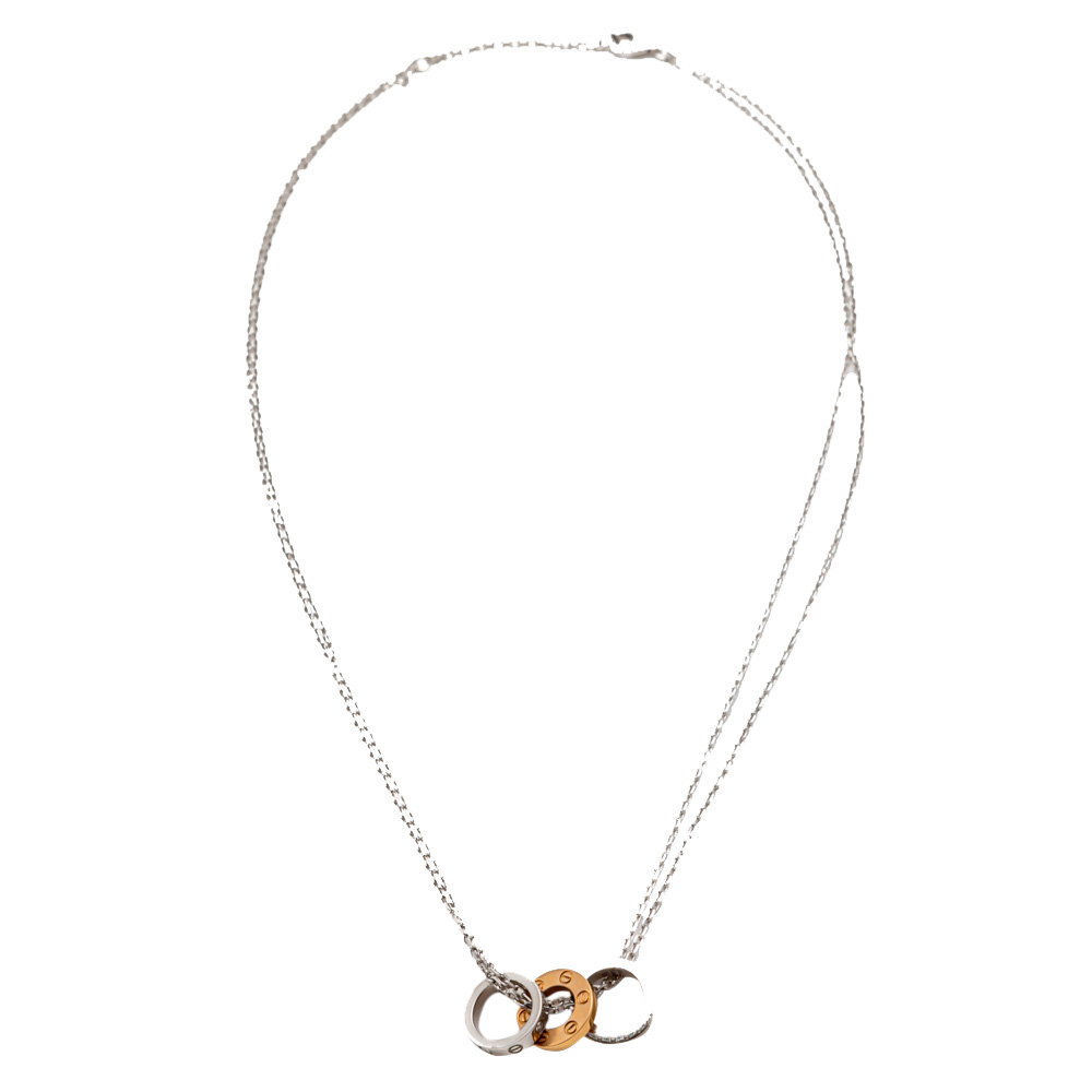 Cartier White & Rose Gold Love Diamond Necklace