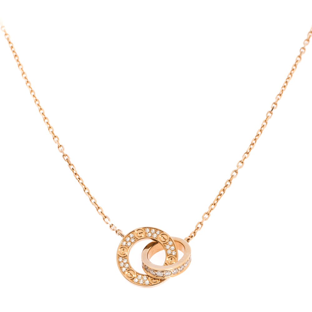 Cartier Love Diamond 18K Rose Gold Necklace