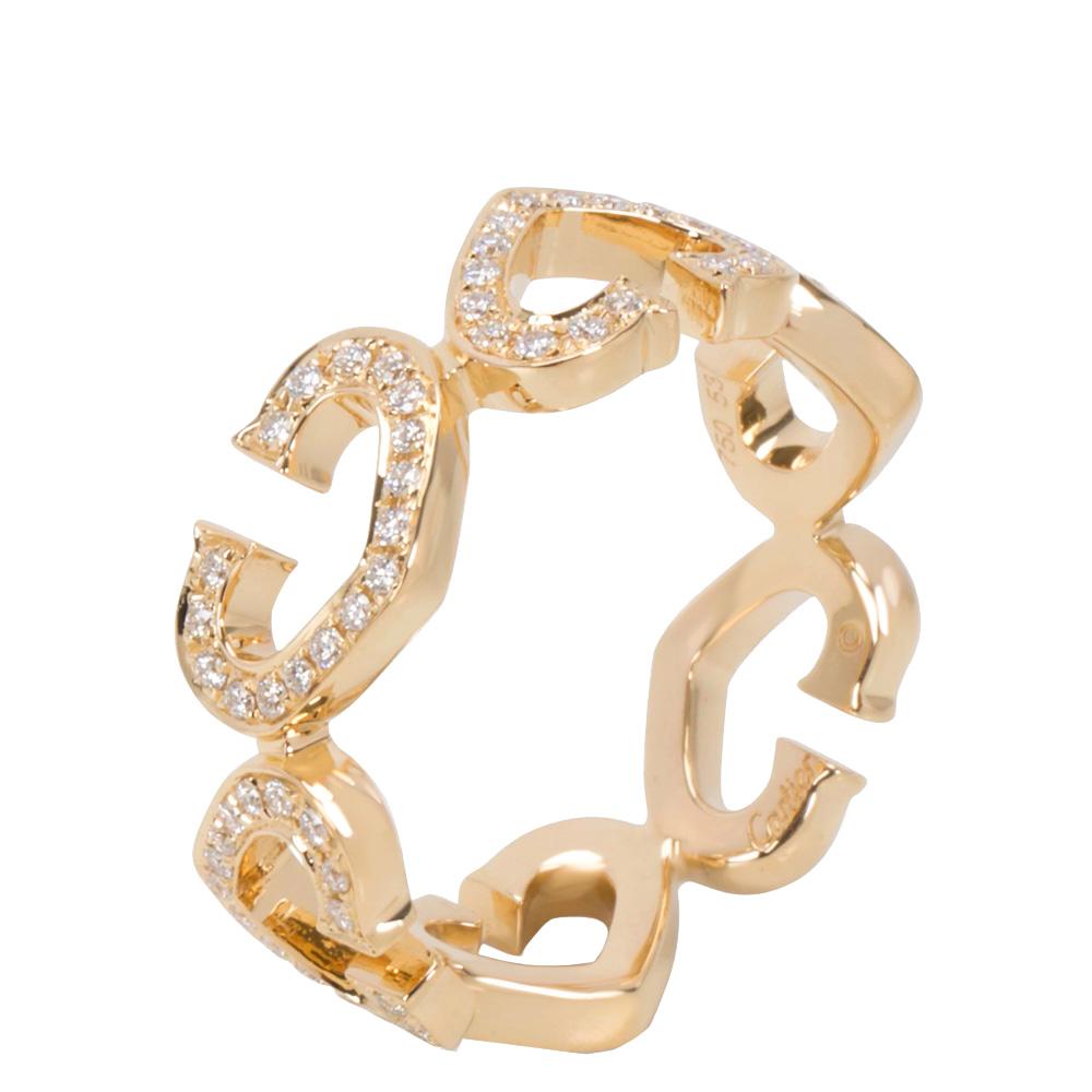 Cartier 18K Yellow Gold Diamond C Heart of Cartier Ring Size 53