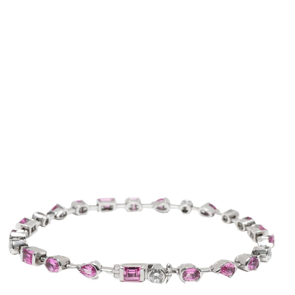 Cartier 18K White Gold Meli Melo Pink Sapphire & Diamond Bracelet