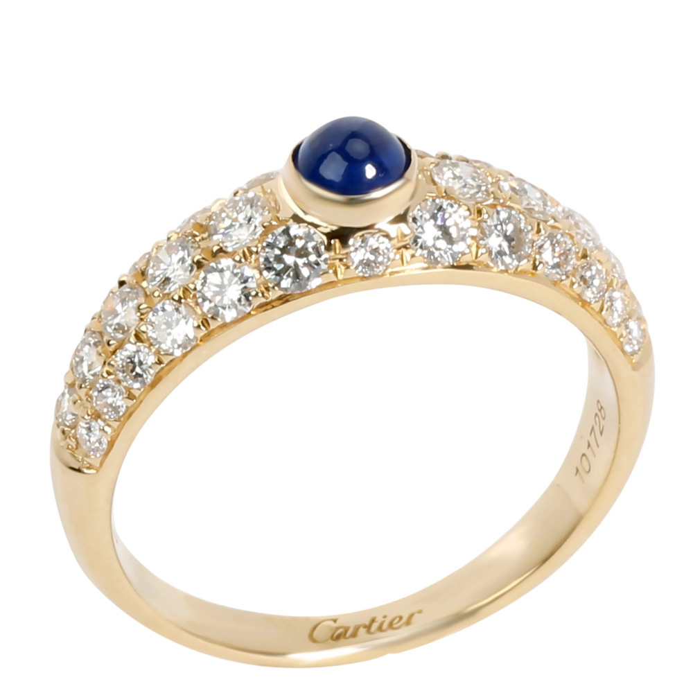Cartier 18K Yellow Gold Cabochon Sapphire & Pave Diamond Ring Size 54.5