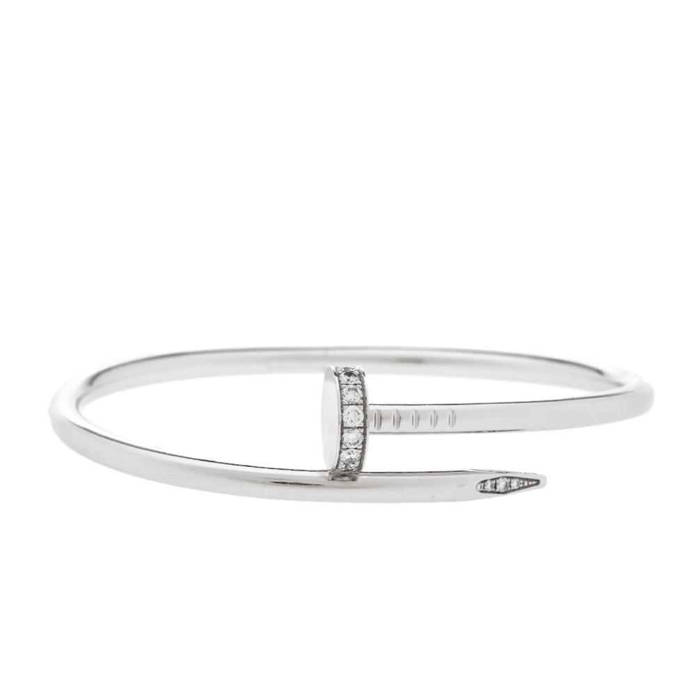 Cartier Juste Un Clou Diamond 18K White Gold Bracelet 17