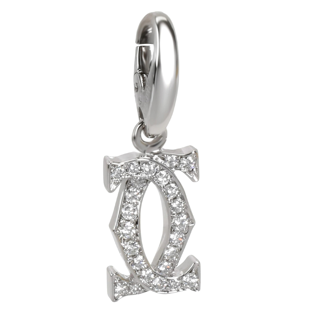 Cartier Interlocking C Diamond 18K White Gold Pendant