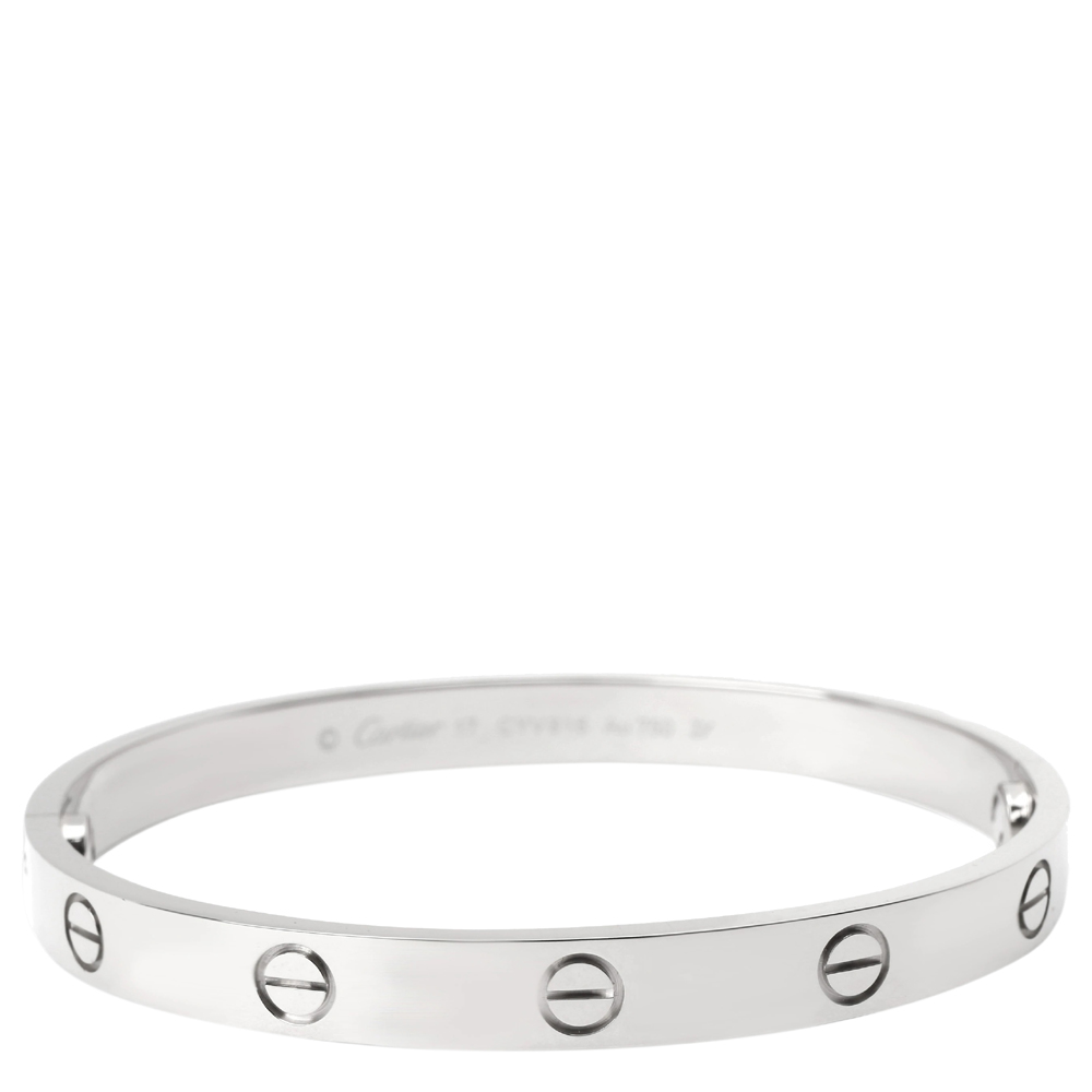 Cartier Love 18K White Gold Bracelet Size 17