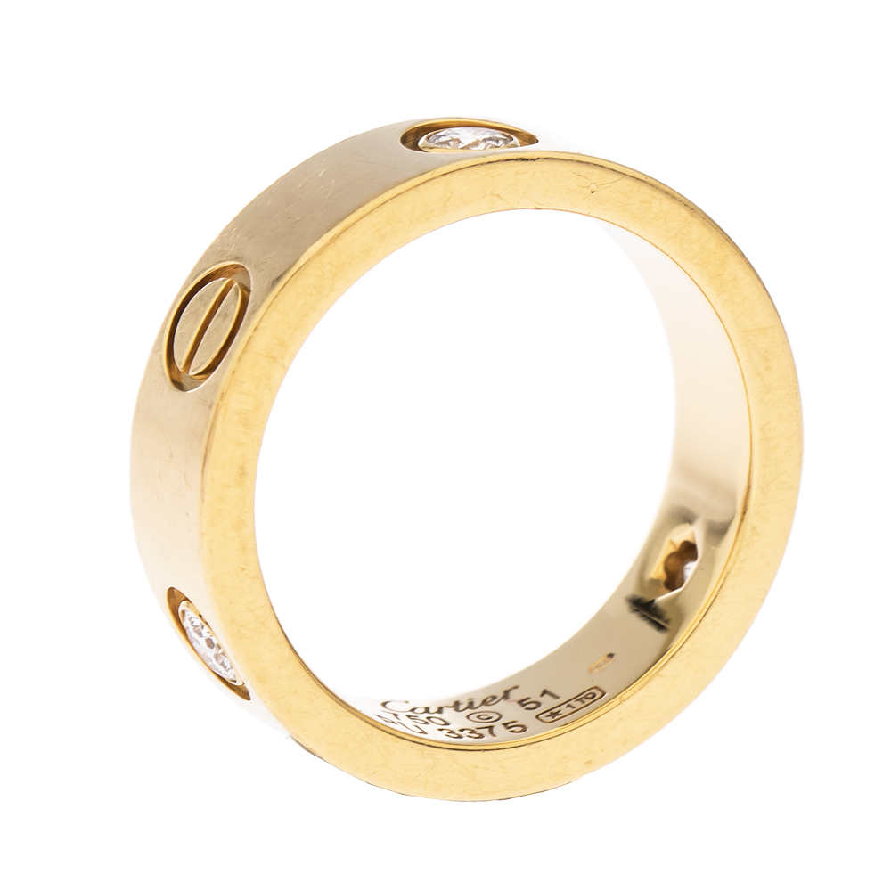 Cartier Love 3 Diamond 18K Yellow Gold Band Ring Size 51
