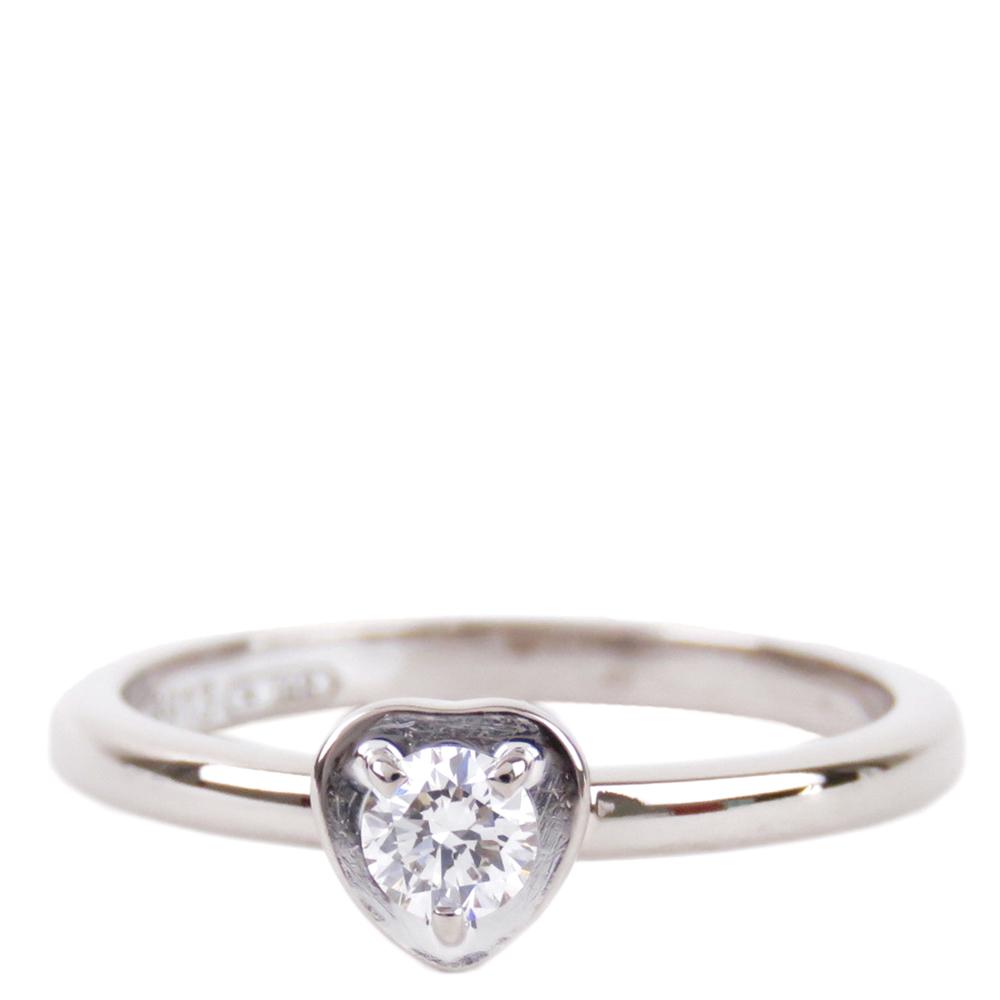 Cartier Diamants Legers Heart Diamond Solitaire 18K White Gold Ring Size 48