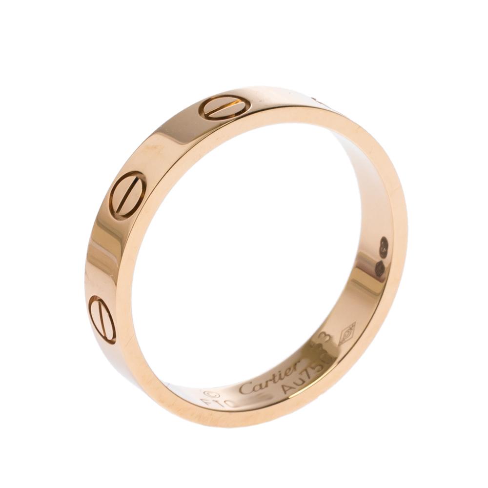 Cartier Love 18K Rose Gold Narrow Wedding Band Ring Size 53