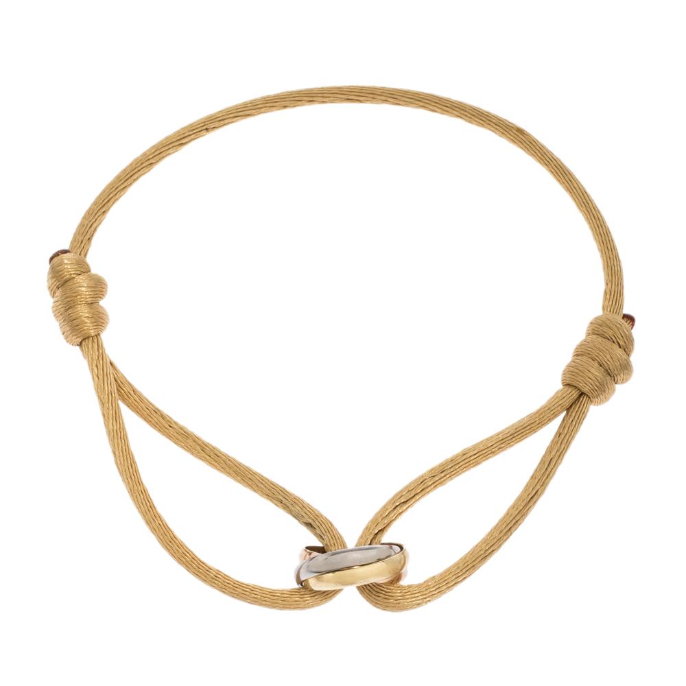 Cartier Trinity De Cartier Three Tone 18K Gold Beige Adjustable Cord Bracelet