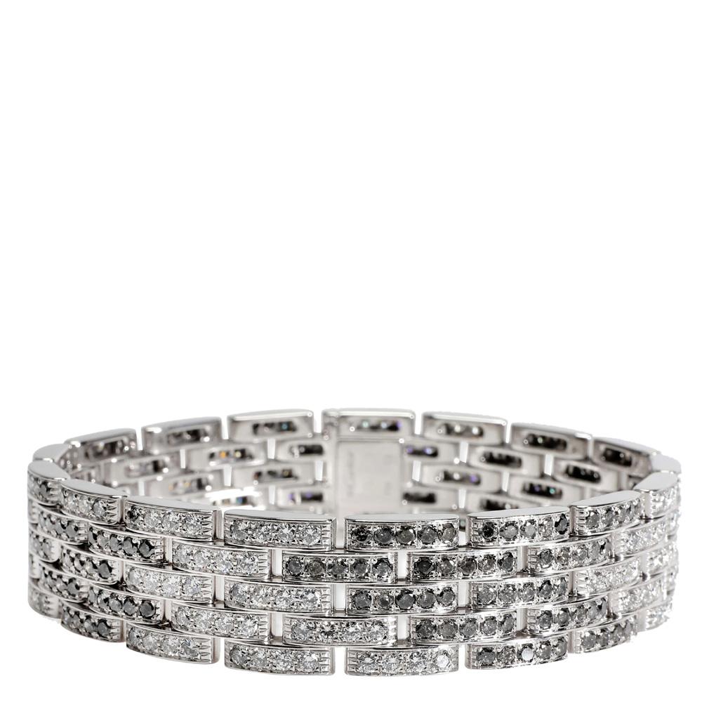 Cartier Maillon Panthere Diamond 18K White Gold Bracelet