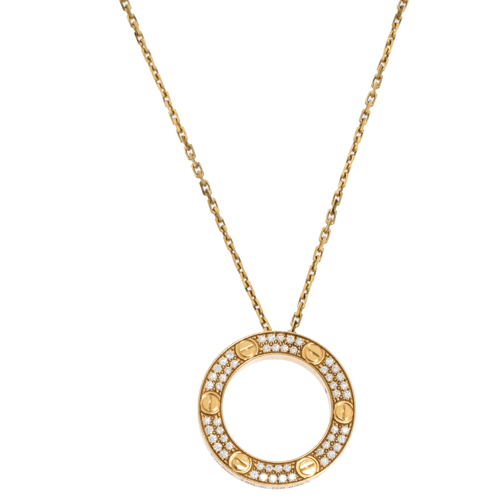 Cartier Love Pave Diamond 18K Yellow Gold Pendant Necklace