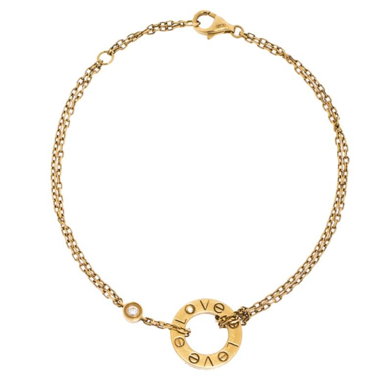 Cartier Love Diamond 18K Yellow Gold Chain Bracelet