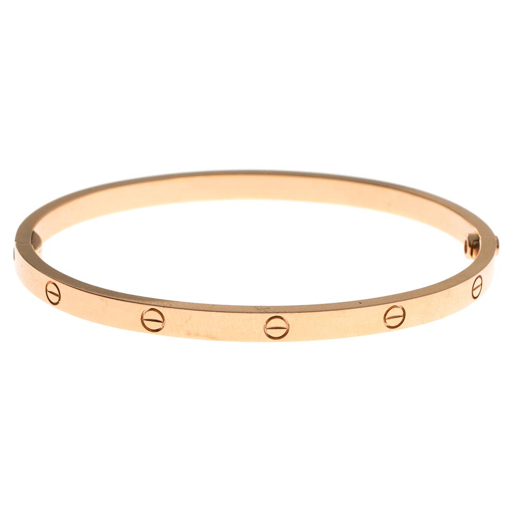 Cartier Love 18K Yellow Gold Narrow Bangle Bracelet Size 16