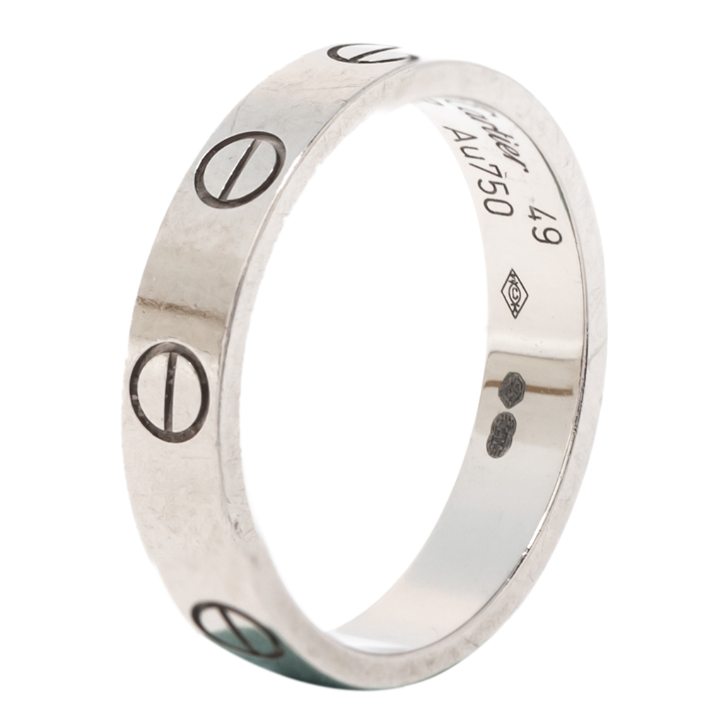 Cartier Love 18K White Gold Narrow Wedding Band Ring Size 49