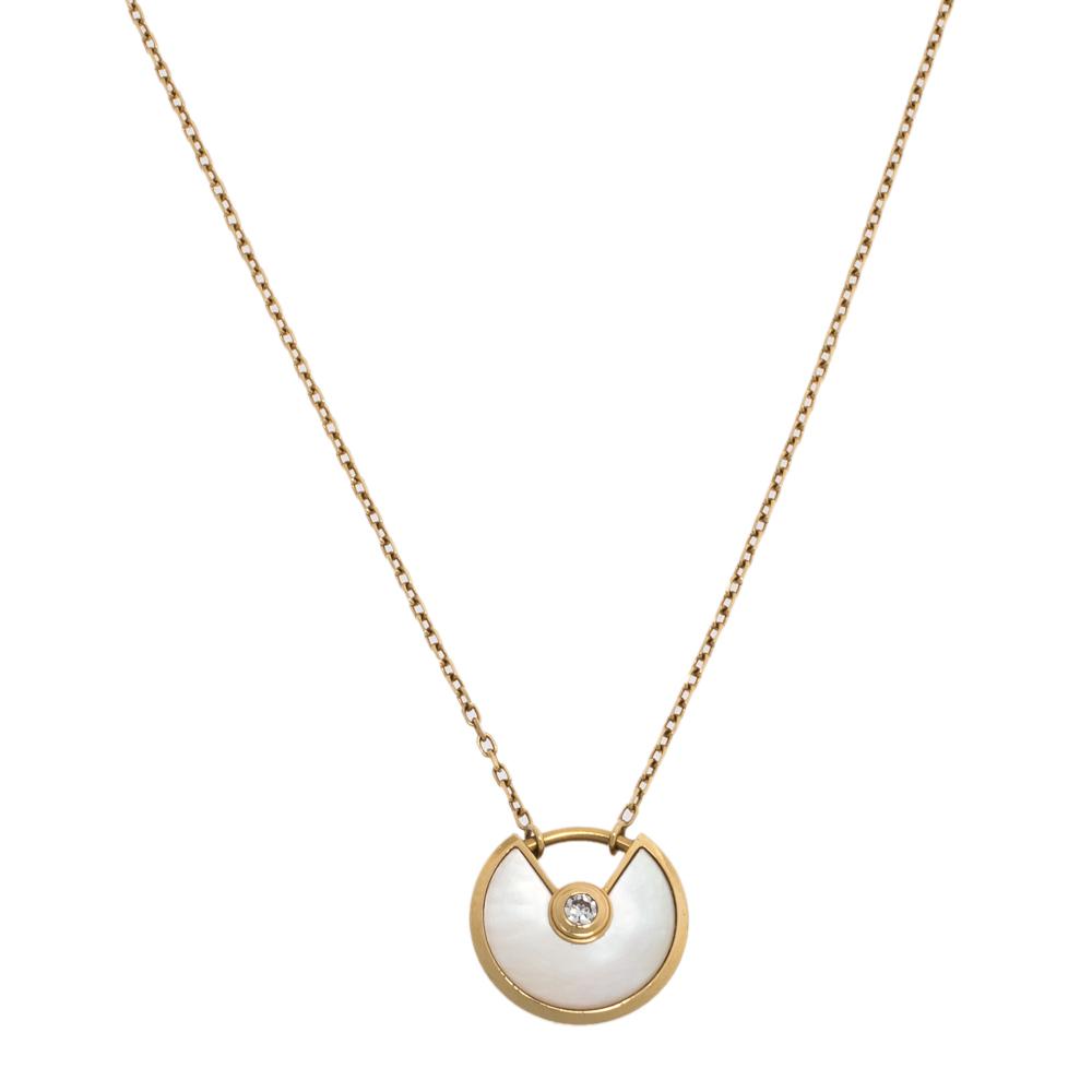Cartier Amulette de Cartier Mother of Pearl & Diamond 18K Yellow Gold Necklace XS