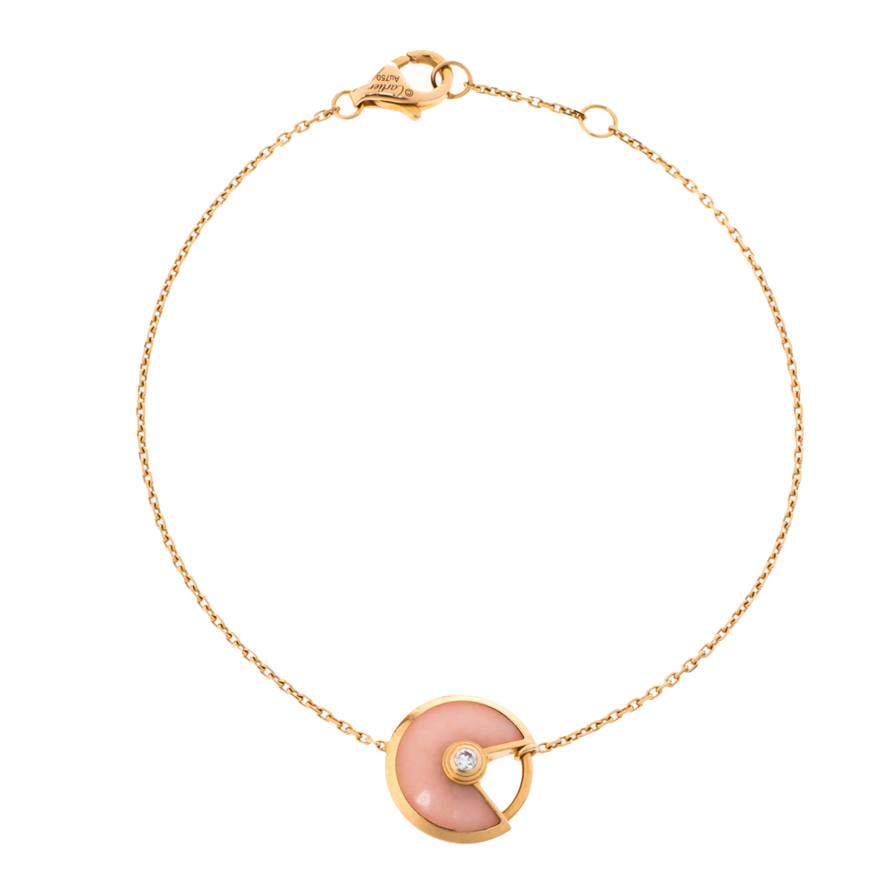 Pre-owned Cartier Diamond Pink Opal 18k Rose Gold Bracelet Xs