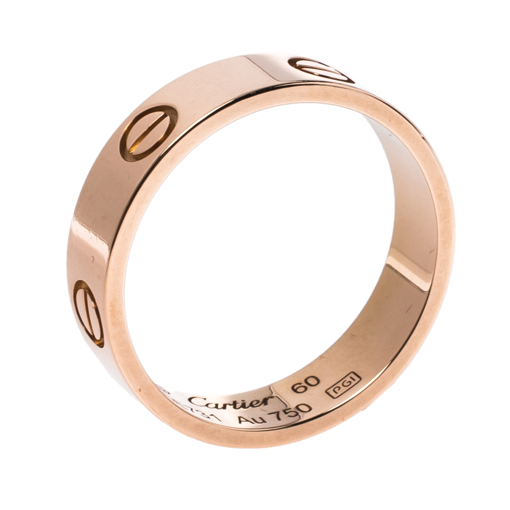 Pre-owned Cartier Love 18k Rose Gold Ring Size 60