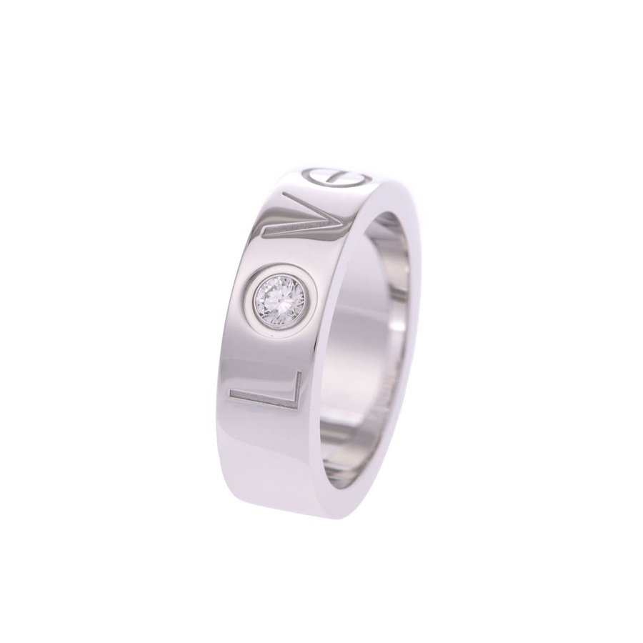 Pre-owned Cartier Love 18k White Gold Diamond Ring Size 48