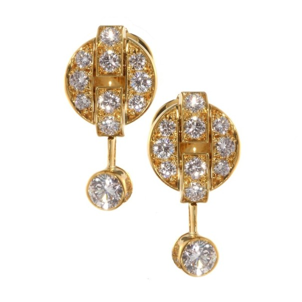 Cartier Himalia Diamond 18k Yellow Gold Earrings