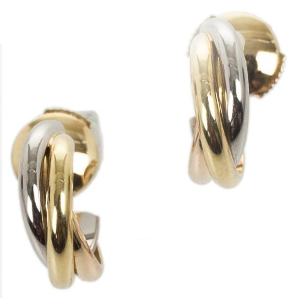 Cartier Trinity 18 K 3 Tone Gold Mini Earrings