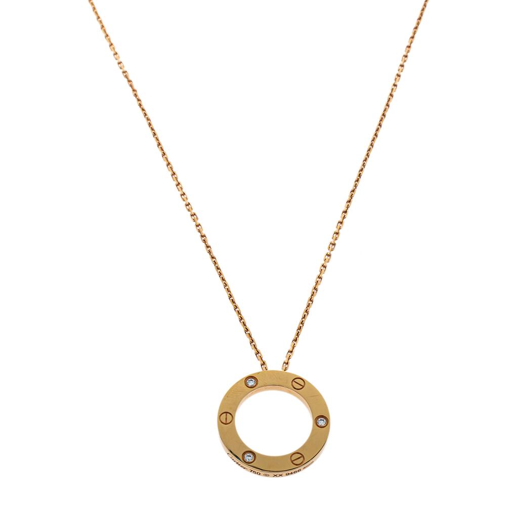 Cartier Love 3 Diamond 18K Rose Gold Pendant Necklace