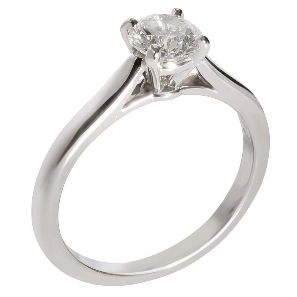 Cartier 1895 Diamond Solitaire Engagement Platinum Ring Size EU 54