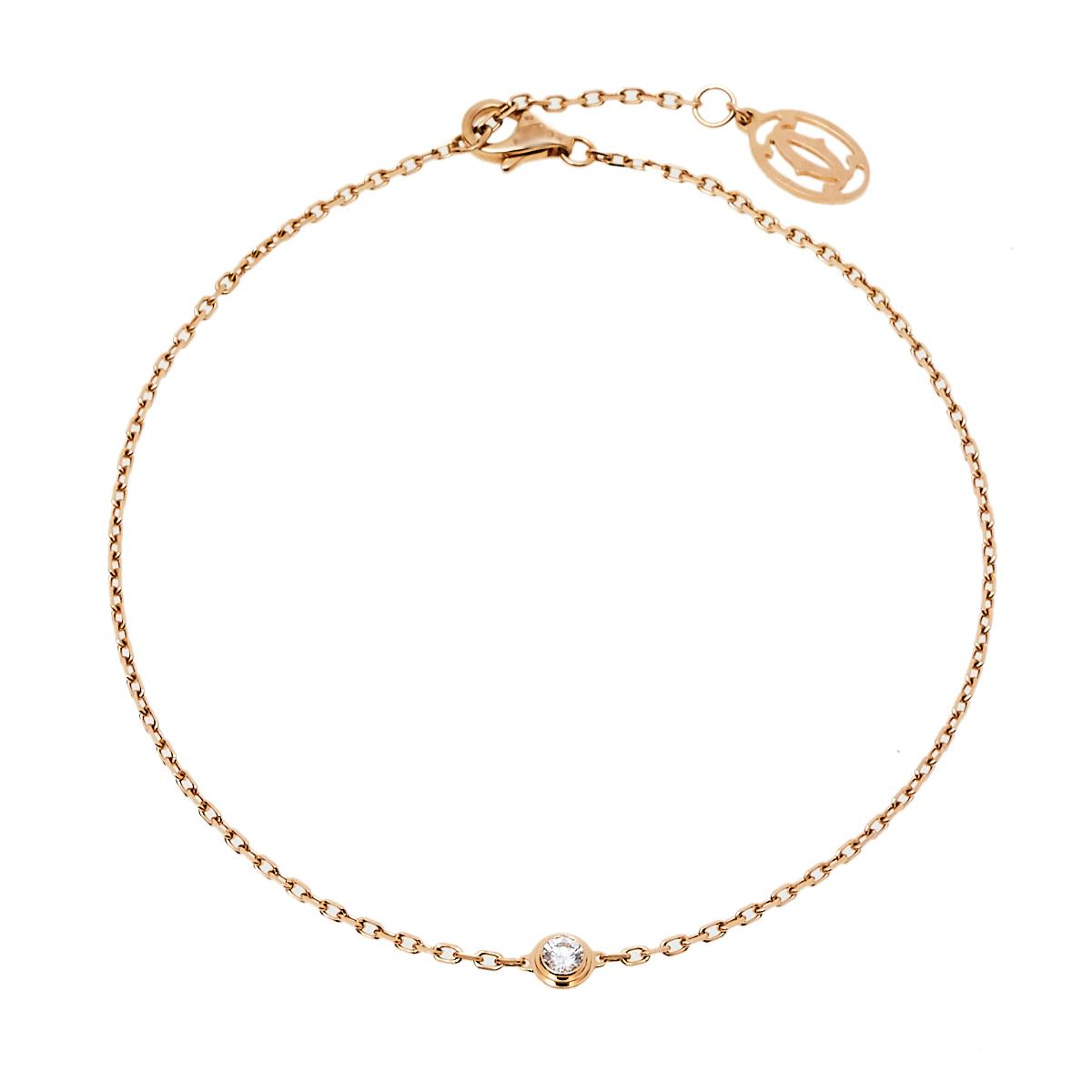 Pre-owned Cartier Diamond 18k Rose Gold Bracelet Sm