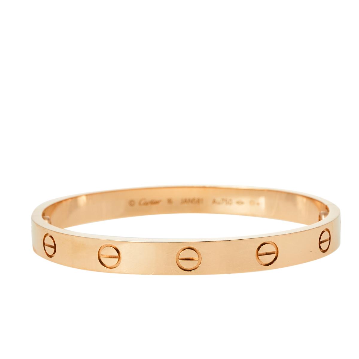Pre-owned Cartier Love 18k Rose Gold Bracelet 16