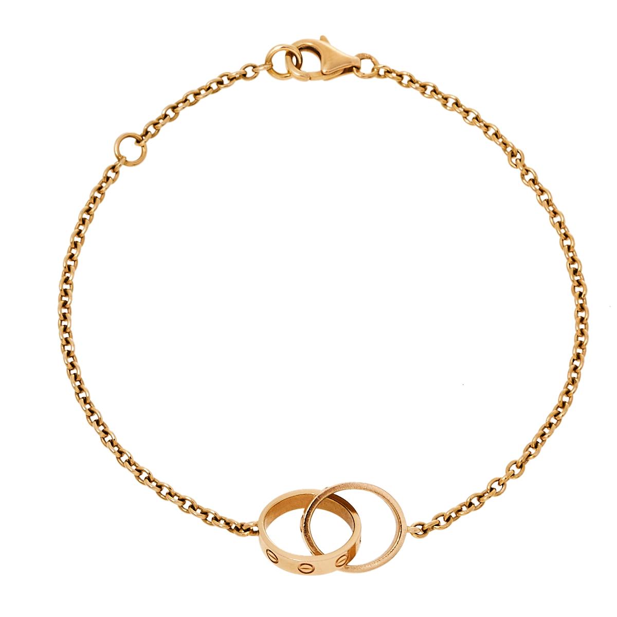 Pre-owned Cartier Love Interlocking 2 Hoops 18k Rose Gold Bracelet