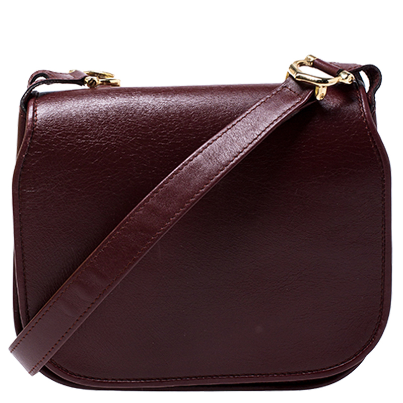 Cartier Maroon Leather Must De Cartier Crossbody Bag