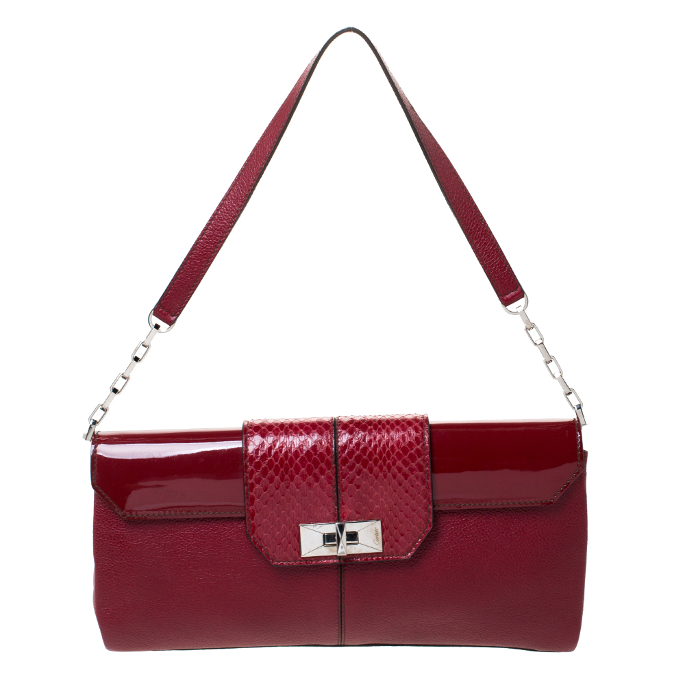 Cartier Red Leather and Python Shoulder Bag