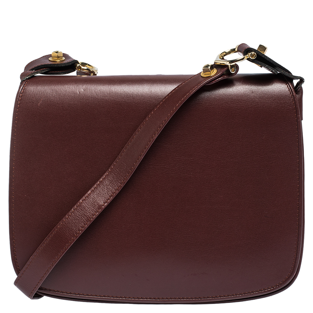Cartier Burgundy Leather Flap Double Compartment Shoulder Bag