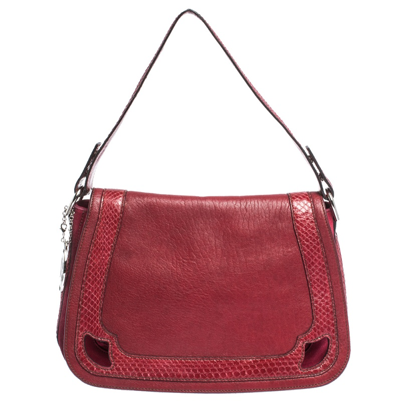 Cartier Red Leather and Python Marcello de Cartier Saddle Bag