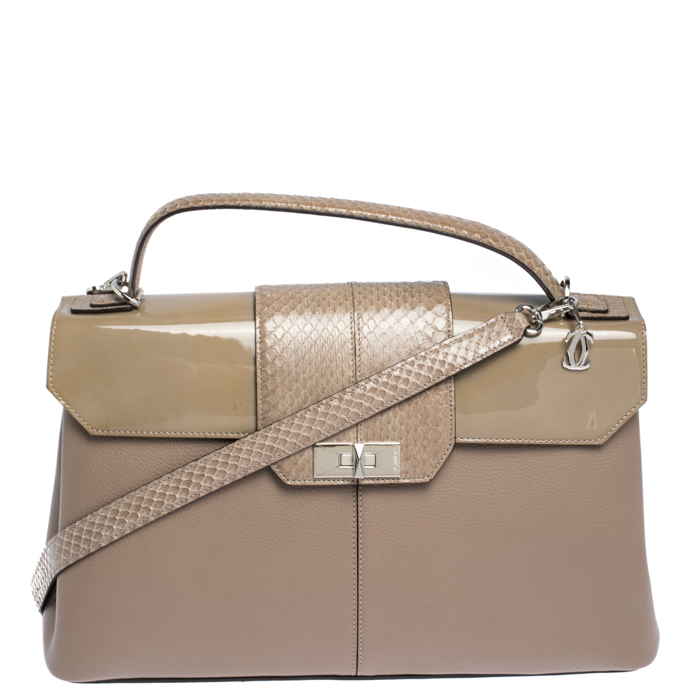 Cartier Beige Leather and Python Classic Feminine Line Top Handle Bag