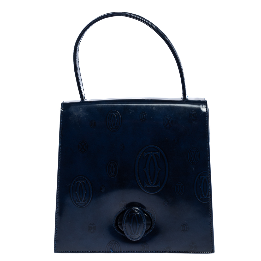 Pre-owned Cartier Navy Blue Patent Leather Happy Birthday Bag