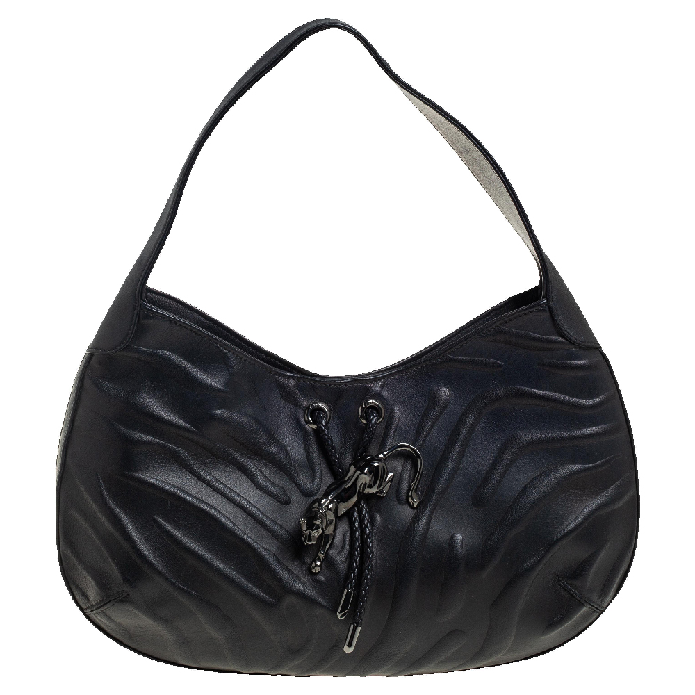 Pre-owned Cartier Black Leather Panthere Hobo