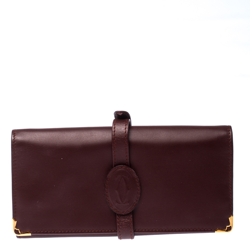 Cartier Maroon Leather Jewelry Pouch